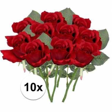 10x rode rozen kunstbloemen 30 cm