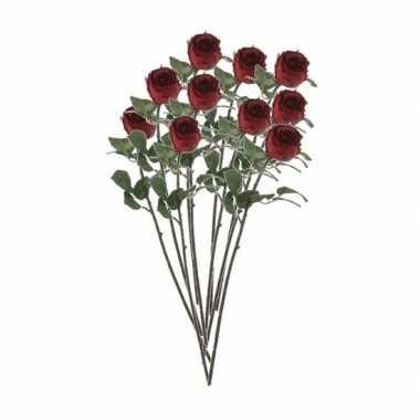 10x rode rozen kunstbloemen 69 cm