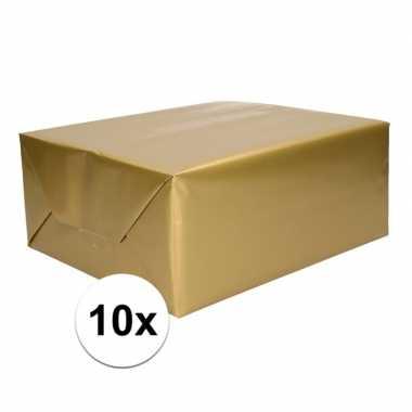 10x rol cadeaupapier goud 70 x 200 cm