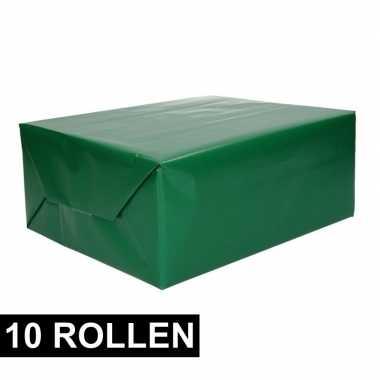 10x rollen cadeaupapier groen 70 x 200 cm