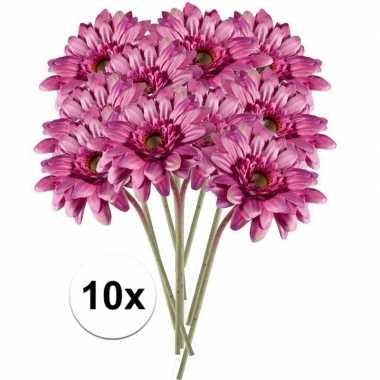 10x roze gerbera kunstbloemen 47 cm