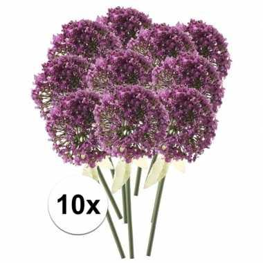 10x roze/paarse sierui kunstbloemen 70 cm