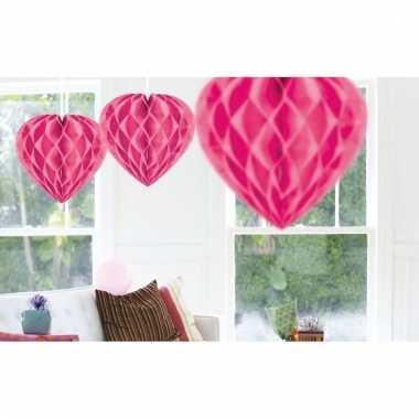 10x roze versiering hartjes 30 cm
