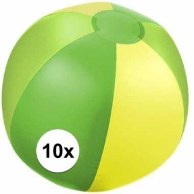 10x strandballen groen met geel