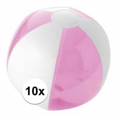 10x strandballen roze met wit