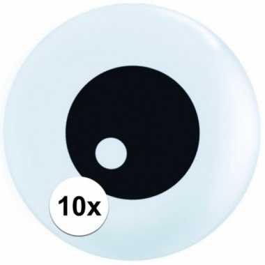 10x stuks kleine ballonen oogballen 13 cm