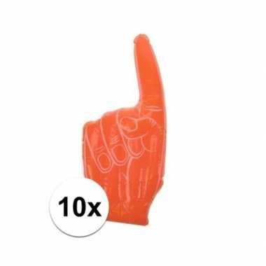 10x stuks oranje handen opblaasbaar 55 x 23 cm