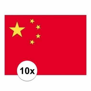 10x stuks stickers china vlaggen