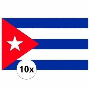10x stuks stickers cuba vlaggen