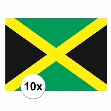 10x stuks stickers jamaica vlaggen