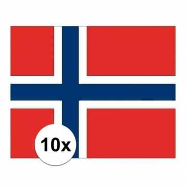 10x stuks stickers noorwegen vlaggen