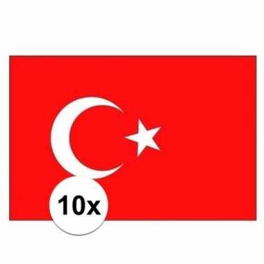 10x stuks stickers turkije vlaggen