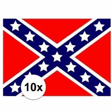 10x stuks stickers usa rebel vlaggen