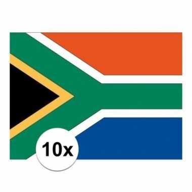 10x stuks stickers zuid afrika vlaggen