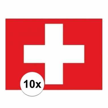 10x stuks stickers zwitserland vlaggen