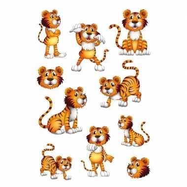 10x tijgers dieren stickers met wiebeloogjes