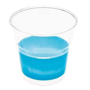 10x transparante bekers met blauwe rand