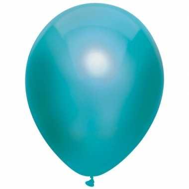 10x turquoise blauwe metallic ballonnen 30 cm