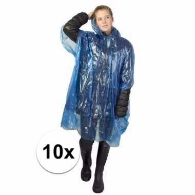 10x wegwerp regen poncho blauw