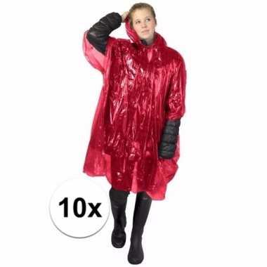 10x wegwerp regen poncho rood