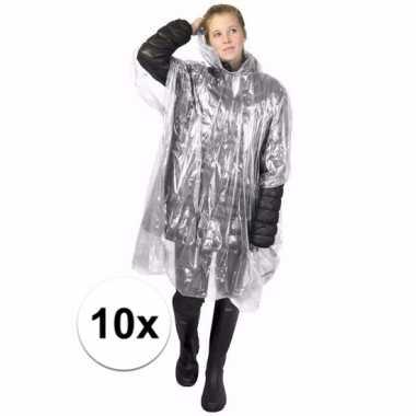 10x wegwerp regen poncho transparant