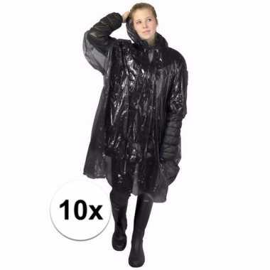 10x wegwerp regen poncho zwart
