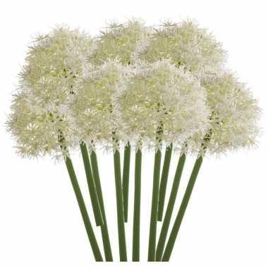 10x witte allium/sierui kunstbloemen 65 cm