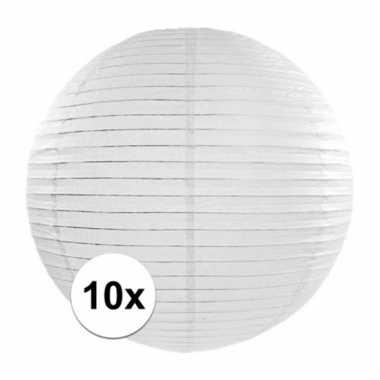 10x witte bruiloft bol lampionnen van 35 cm