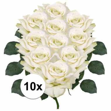 10x witte roos deluxe kunstbloemen 31 cm