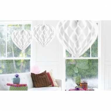 10x witte versiering hartjes 30 cm