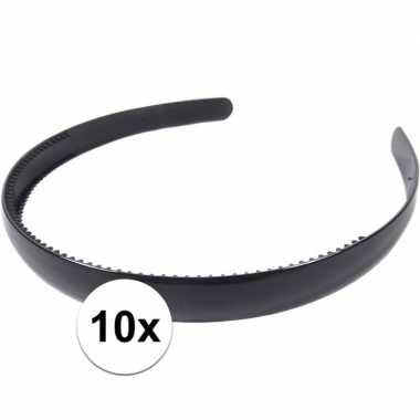 10x zwarte dames diadeem/haarband 1,5 cm breed
