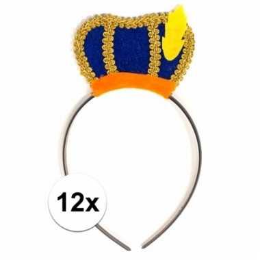 12 x blauwe pietenmuts diadeem verkleedaccessoire voor kinderen