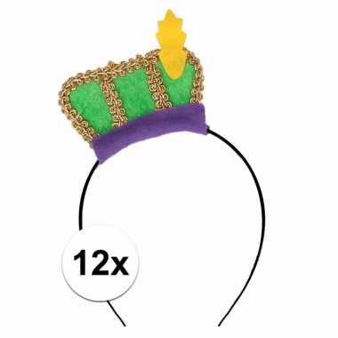 12 x groene pietenmuts diadeem verkleedaccessoire voor kinderen