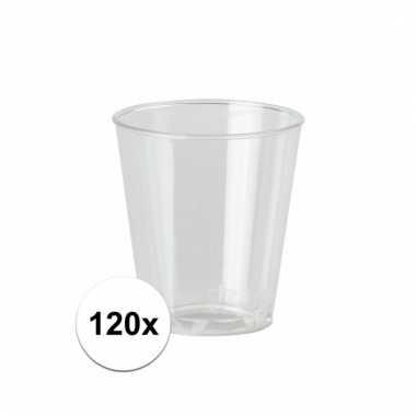 120 transparante plastic borrelglaasjes 30 ml