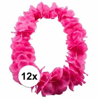 12x bloemen ketting roze