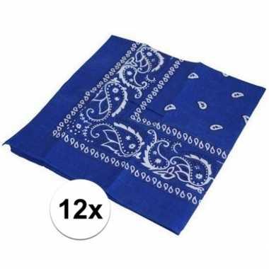 12x boerenzakdoeken blauw
