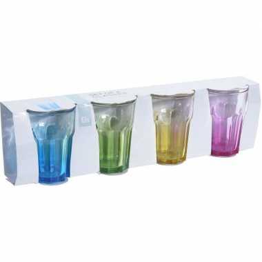 12x drinkglazen gekleurde onderkant 360 ml