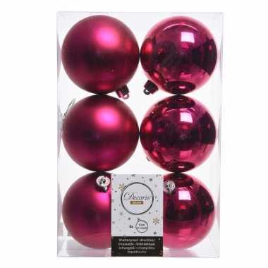 12x fuchsia roze kerstversiering kerstballen kunststof 8 cm