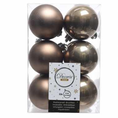 12x kasjmier bruine kerstballen 6 cm kunststof mat/glans