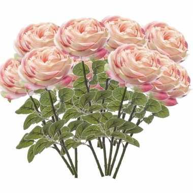 12x lichtroze rozen kunstbloemen 66 cm