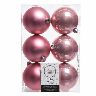 12x oud roze kerstversiering kerstballen kunststof 8 cm