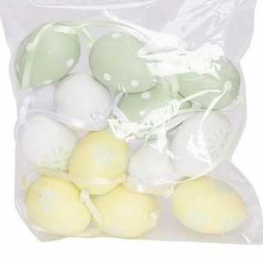12x pasen decoratie paaseieren pastel groen/geel/wit 4 cm