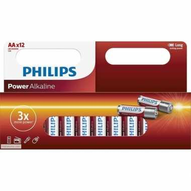 12x philips aa batterijen power alkaline
