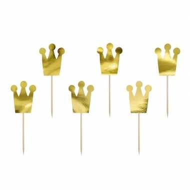 12x prinsessen thema feest prikkers kroon 12 cm