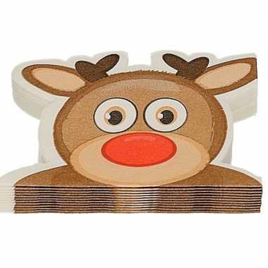 12x rendier vorm kerst servetten 33 x 33 cm