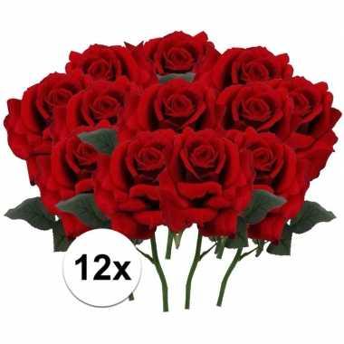 12x rode rozen deluxe kunstbloemen 31 cm
