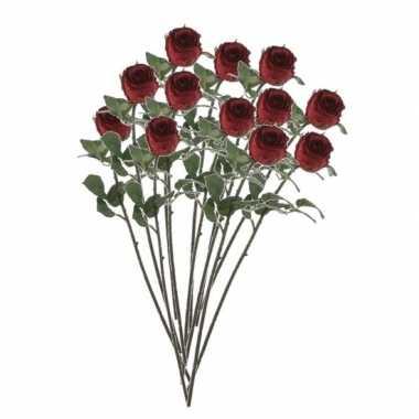 12x rode rozen kunstbloemen 69 cm