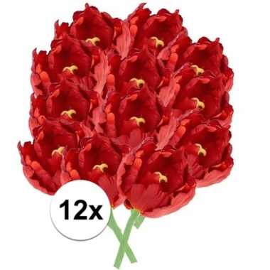 12x rode tulp deluxe kunstbloemen 25 cm