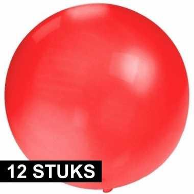12x ronde ballon rood 60 cm voor helium of lucht