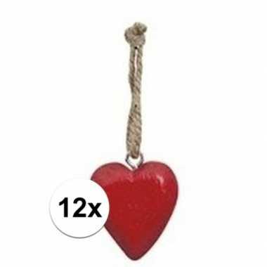 12x rood hartje aan touwtje 5 cm